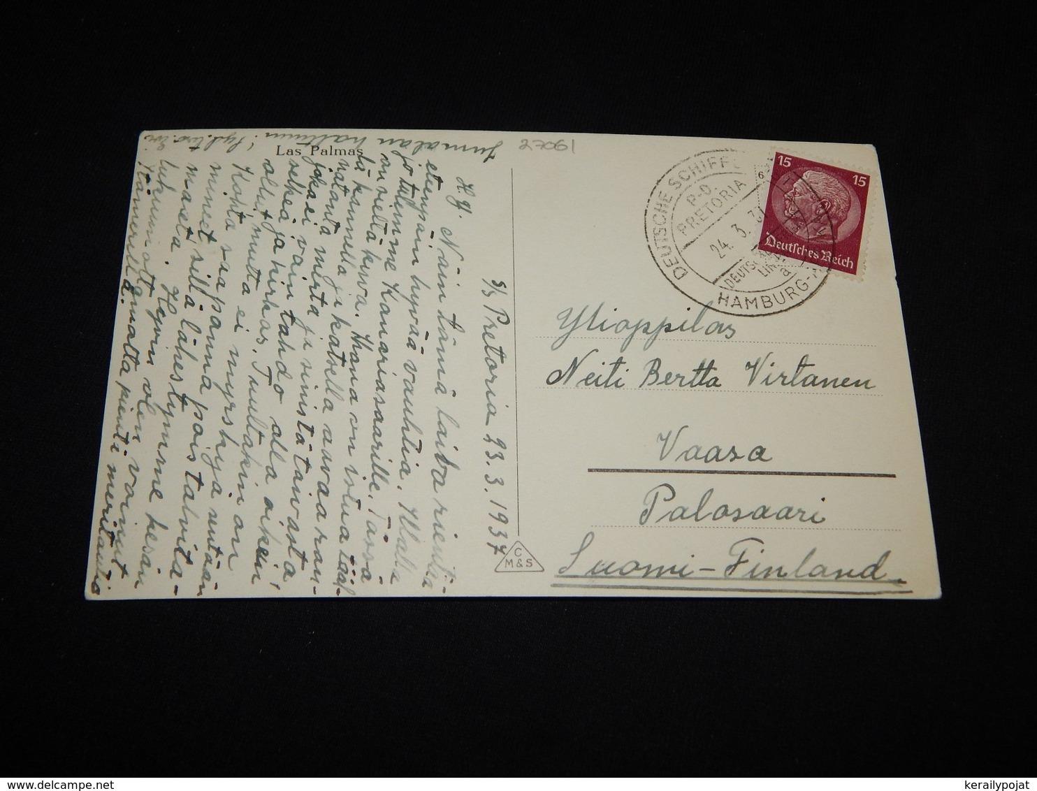 Germany 1937 Hamburg S/S Pretoria Ship Mail Card__(L-27061) - Deutschland