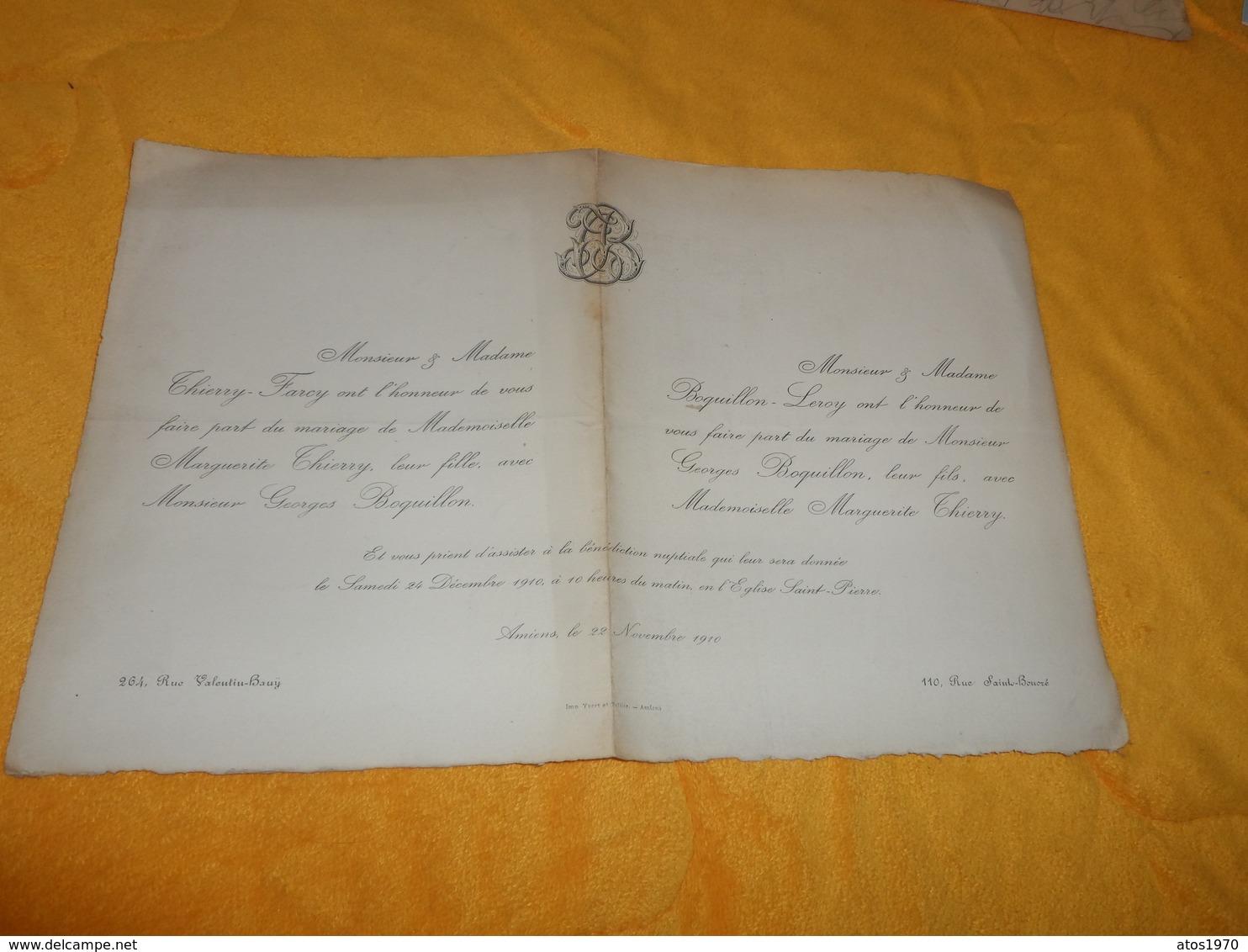 FAIRE PART MARIAGE ANCIEN DE 1910 EN L'EGLISE SAINT PIERRE A AMIENS... - Mariage