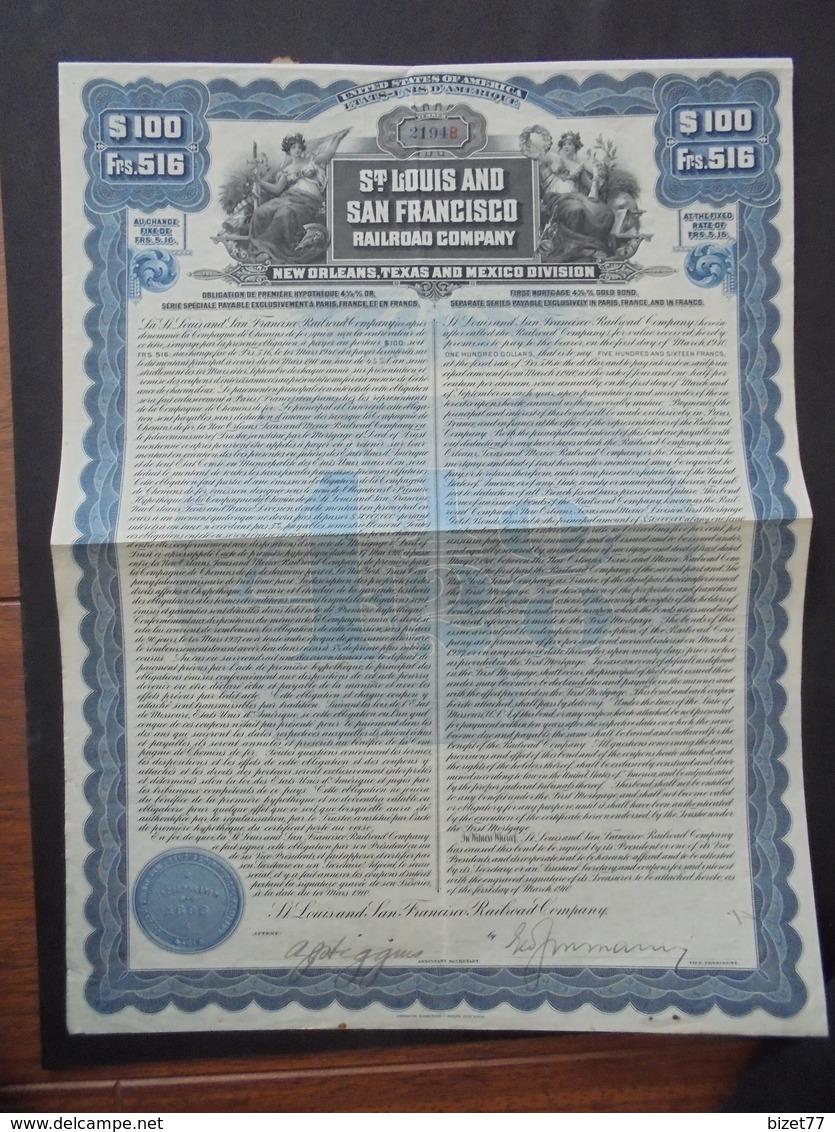 USA - CDF - ST LOUIS AND SAN FRANCISCO RAILROAD - TITRE DE 100 $ - 1910 - BELLE DECO - Actions & Titres