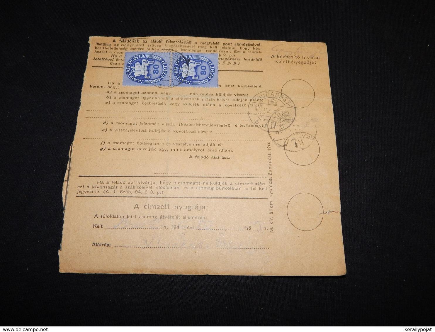 Hungary 1946 Balatonszepezd Parcel Card__(L-28691) - Hongarije