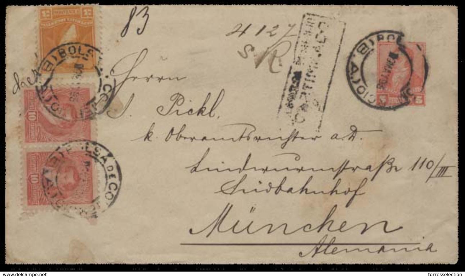 Argentina - Stationery. 1893 (9 May). Bolsa Comercio / BA - Germany / Munich (4 June). Reg 5c Carmin Rectangular Stat En - Argentine