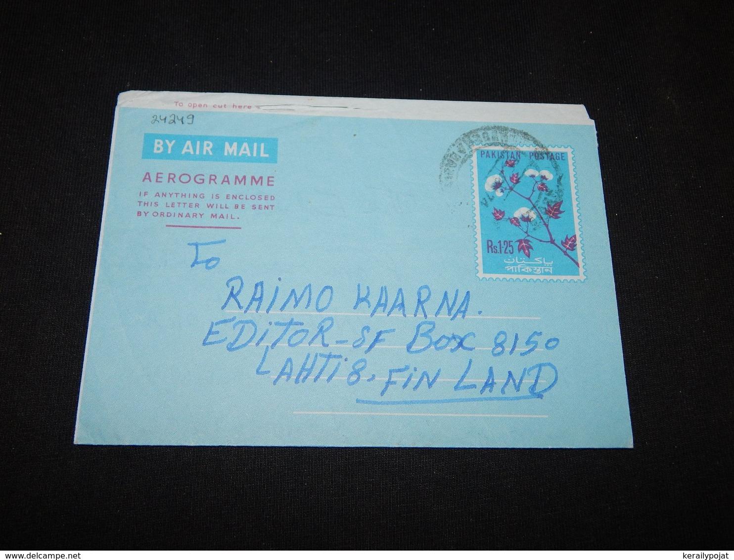 Pakistan 1974 Aerogramme To Finland__(L-24249) - Pakistan