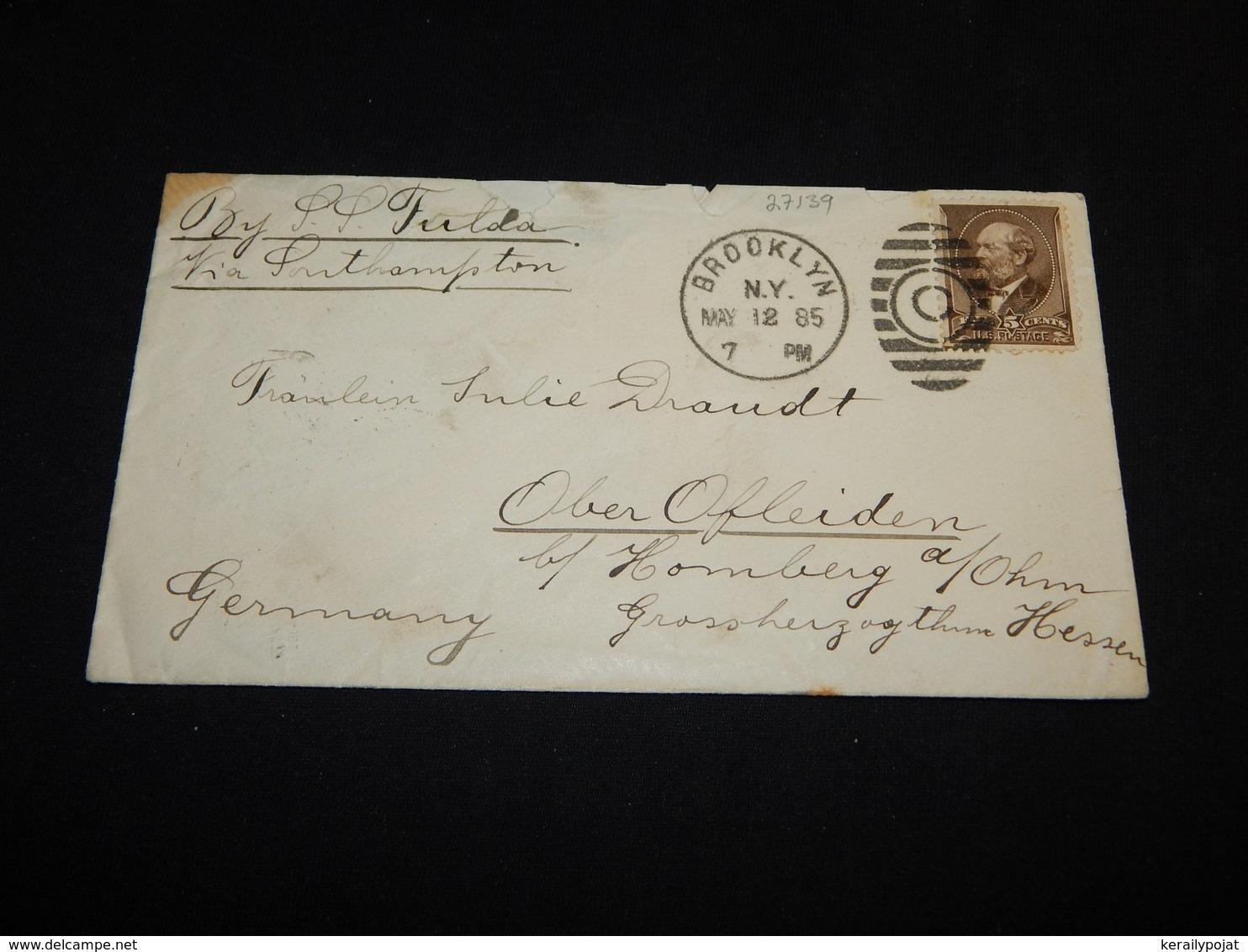 USA 1885 Brooklyn S.S. Fulda Ship Mail Cover__(L-27139) - 1847-99 Emissioni Generali