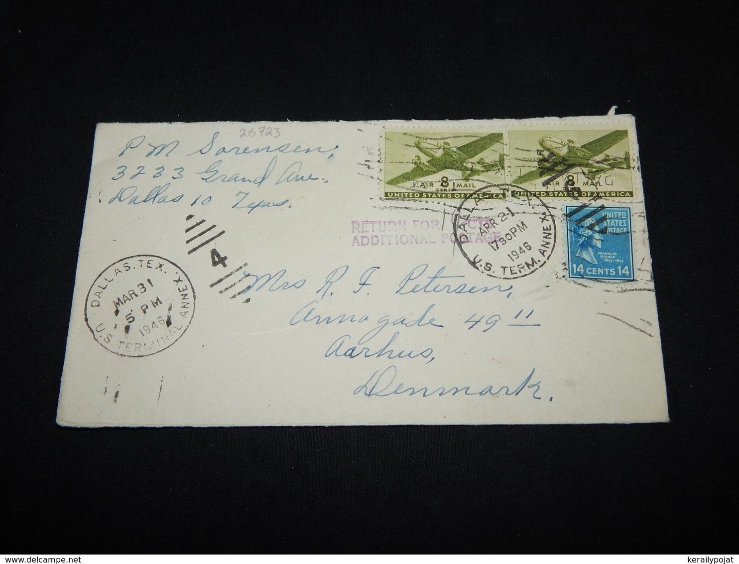 USA 1946 Dalls Returned Cover To Denmark__(L-26723) - Etats-Unis