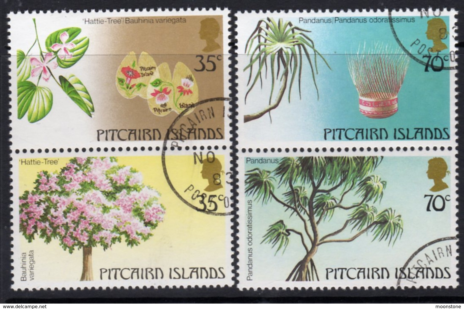 Pitcairn QEII 1983 Trees Of Pitcairn I Set Of 4, 2 X Se-tenant Pairs, Used, SG 242/5 - Stamps