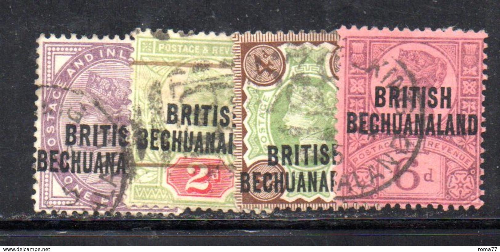 XP5043 - BECHUANALAND 1892  Serietta Yvert N. 31/34  Usata - 1885-1895 Colonia Britannica