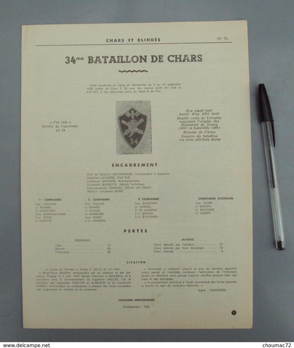 Militaria 007, Chars Et Blindés N° 76, RCC 34me BCC Bataillon De Chars De Combat, Historique, Insigne, Encadrement, 4 Pa - Non Classificati