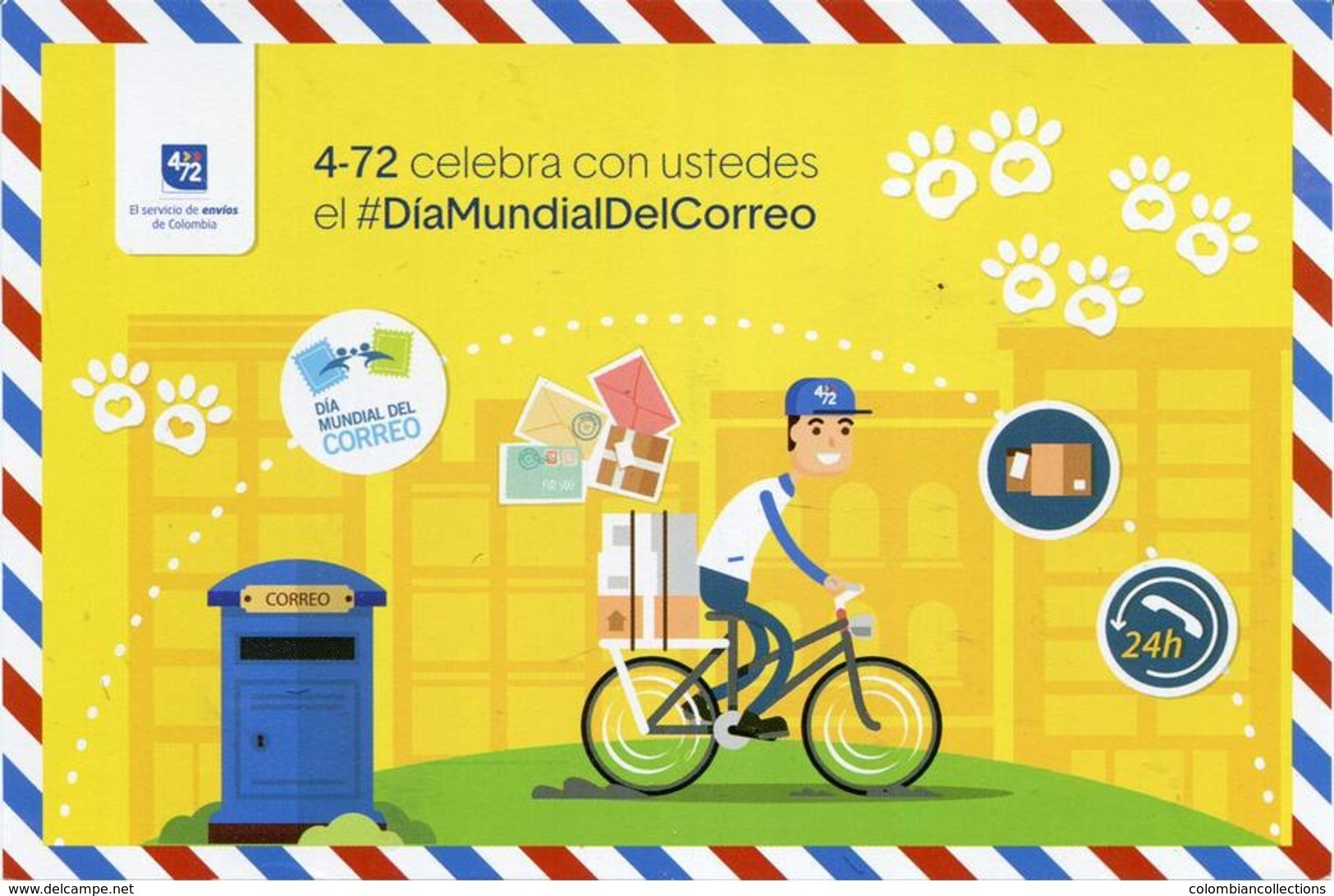 Lote PEP981a, Colombia, 2018, Entero Postal, Stationery, Certificado,Dia Mundial Del Correo, Upaep, Bicycle, Horse, Bird - Colombia