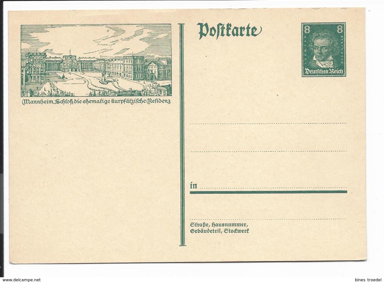 DR P 178- 14 ** - 8 Pf Beethoven Bildpostkarte, Bild :  Mannheim - Schloß - Ganzsachen