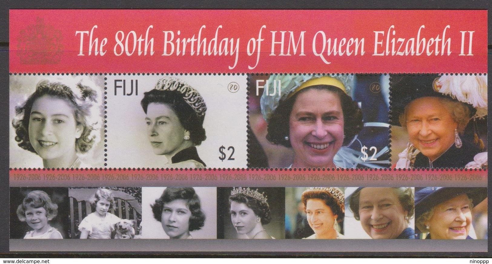 Fiji SG MS 1319 2006 Queen Elizabeth II 80th Birthdat ,Miniature Sheet,mint Never Hinged - Fiji (1970-...)