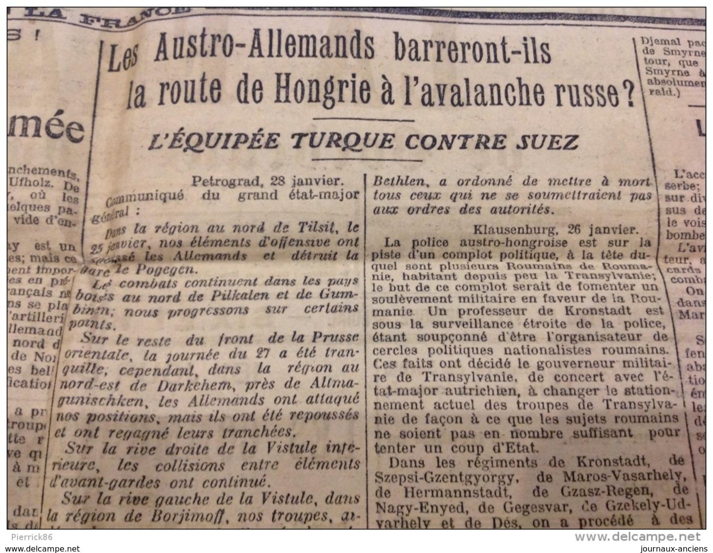 WW1 Le 30 Janvier 1915 LA FRANCE DE BORDEAUX ET DU SUD OUEST - DANS LE SOISSONNAIS - Revues & Journaux