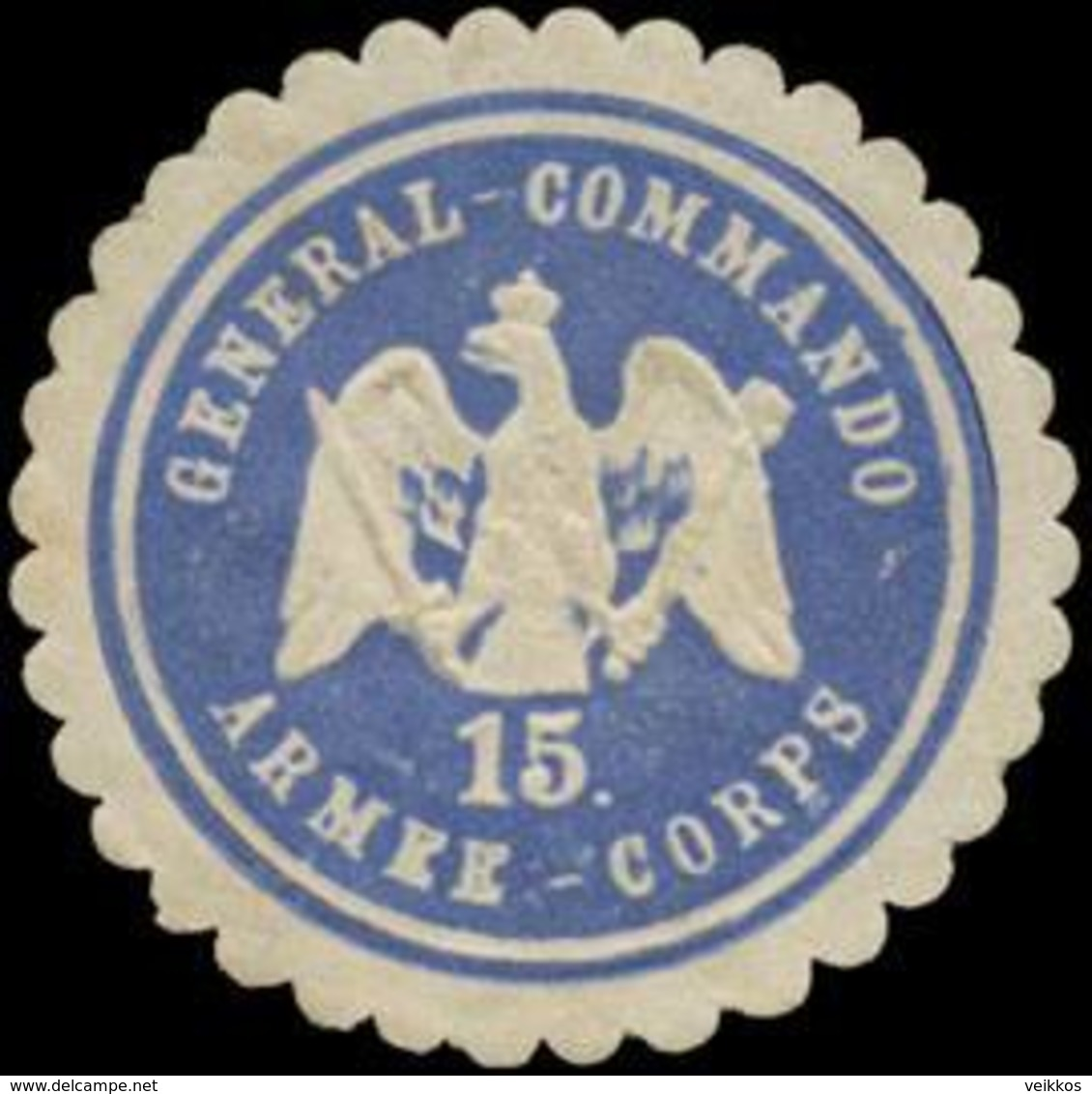 Straßburg/Elsaß: General-Commando 15. Armee-Corps Siegelmarke - Cinderellas