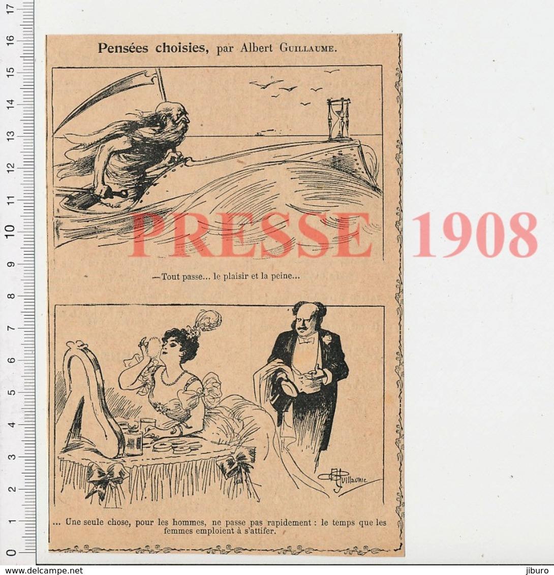 Presse 1908 Humour Notion Du Temps Qui Passe Fauche-la-mort Faux Vieilard Sablier Maquillage Femme Poudre De Riz 223CHV6 - Vieux Papiers