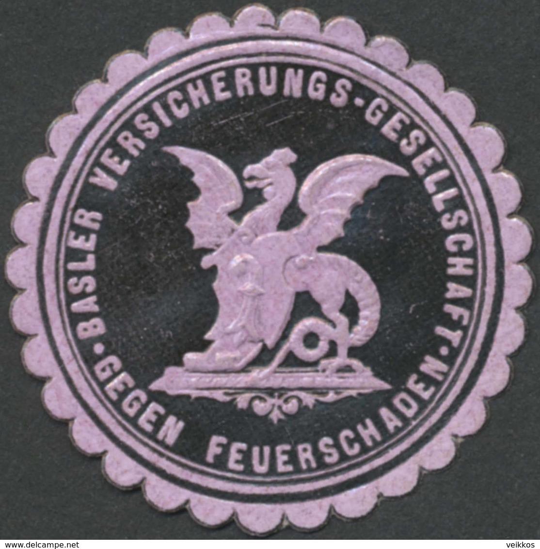 Basel: Basler Versicherungsgesellschaft Gegen Feuerschäden Reklamemarke - Cinderellas