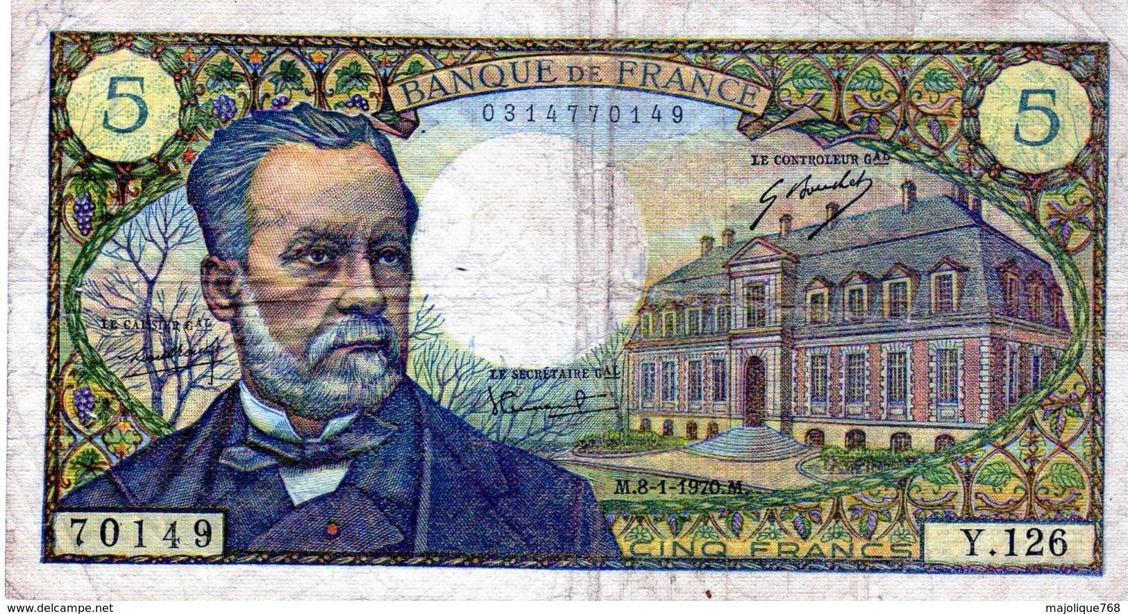 Billet De 5 Francs Pasteur Le 08-01-1970  En TTB - 5 F 1966-1970 ''Pasteur''