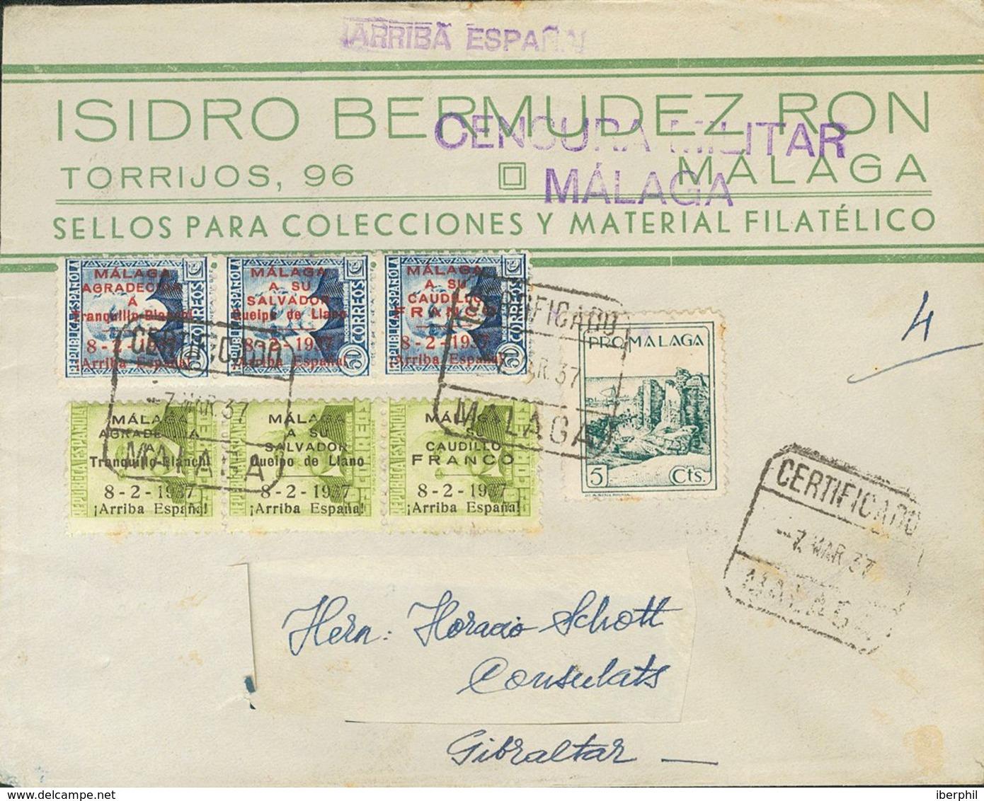 Sobre 39, 40. 1937. 50 Cts Azul, 60 Cts Verde Oliva Y Benéfico De 5 Cts. Certificado De MALAGA A GIBRALTAR (dirección Re - Spain