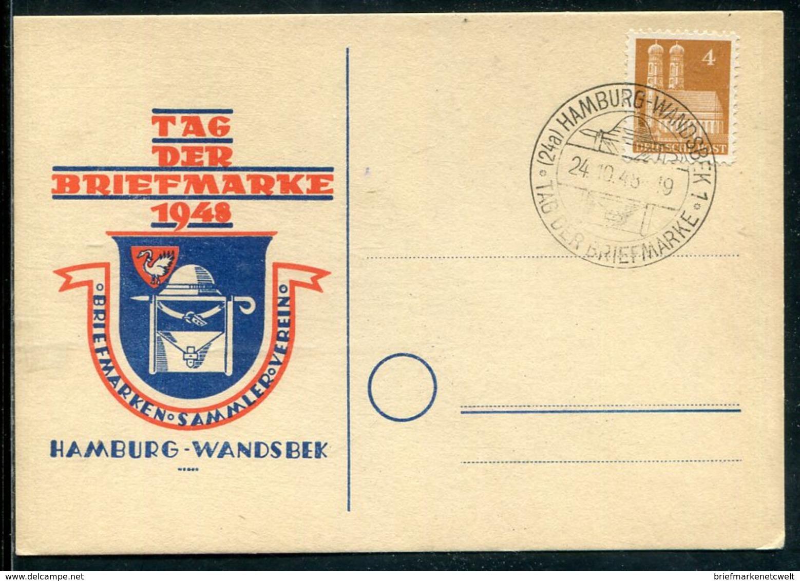 "Bizone / 1948 / So-Beleg ""Tag Der Briefmarke"", So-Stempel HAMBURG-WANDSBEK (11308) - Bizone"