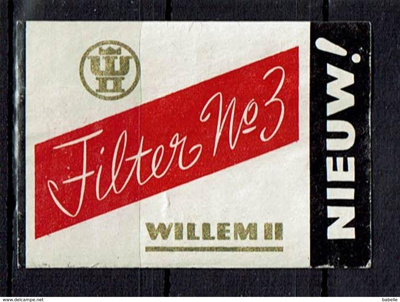 "SUEDE - Et. Boite Allumettes - "" Filter N° 3 - Willem II "" NIEUW ! - Boites D'allumettes - Etiquettes"