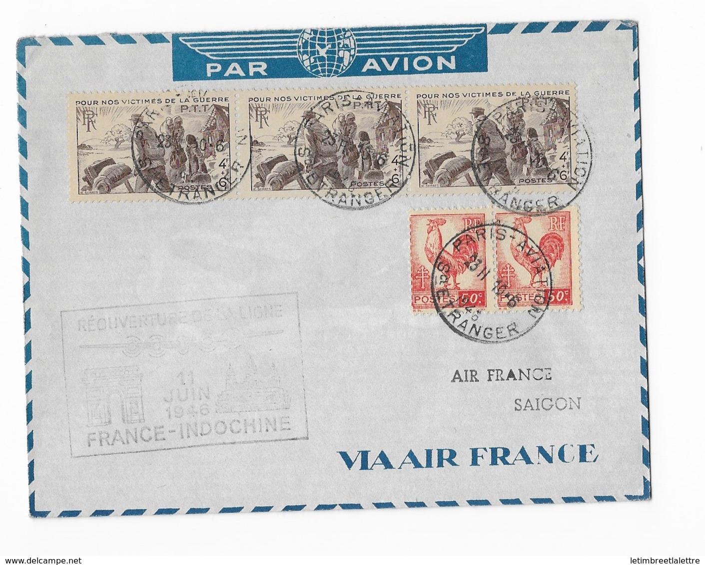 Réouverture De La Ligne France Indochine 11 Juin 1946 - Poste Aérienne
