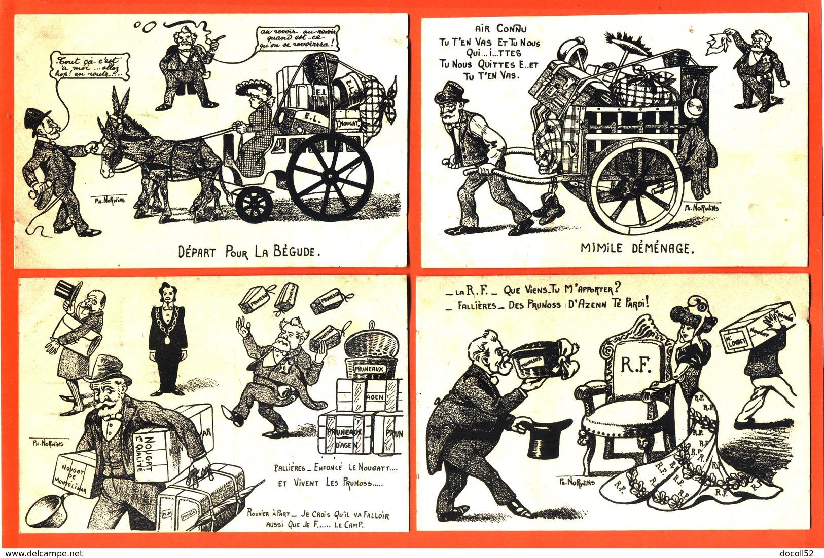 """Suite Ou Série De 4 CPA Illustrateur PH Norwins """" Mimile Déménage """" émile Loubet - Armand Fallières - Présidents - Politicians & Soldiers"""