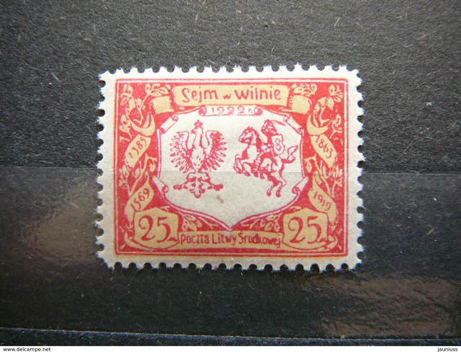 Central Lithuania Lietuva Litauen Lituanie Litouwen # 1922 MH # Mi. 45A - Lithuania