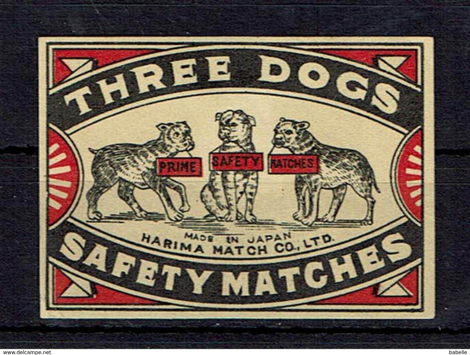 ROYAUME UNI - 2 ét. Allumettes The Unique SAFETY MATCHES & Three Dogs - Boites D'allumettes - Etiquettes