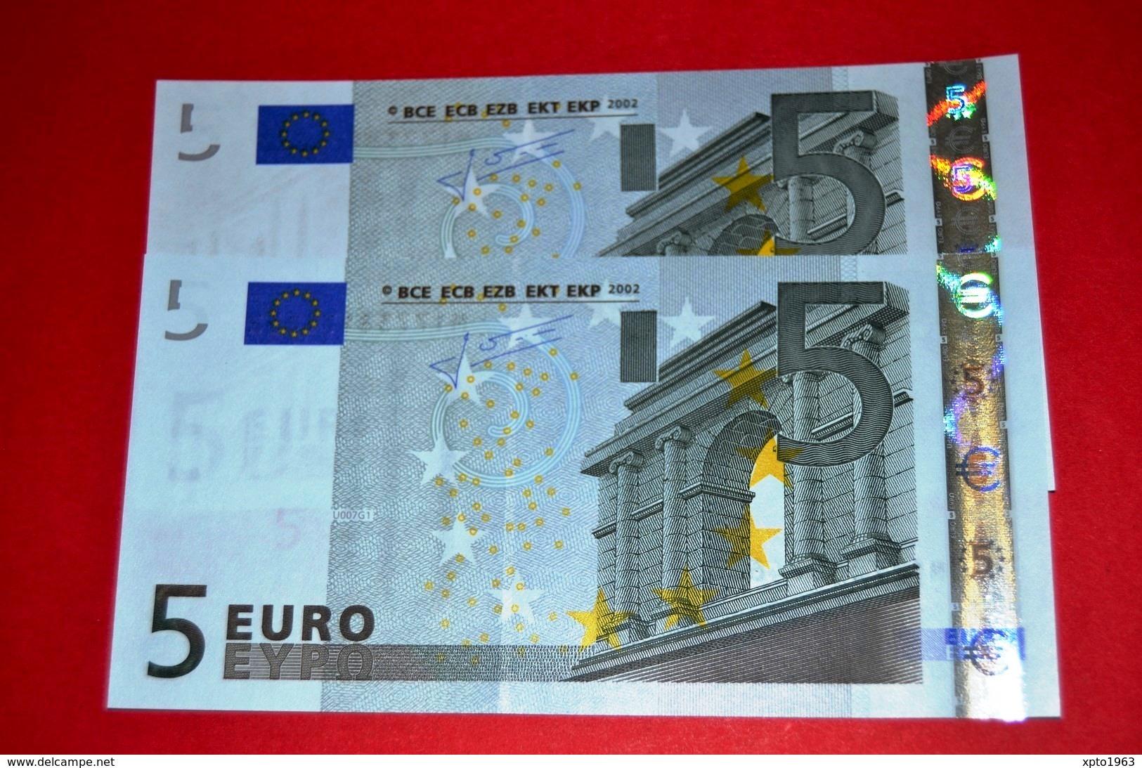 2x 5 EURO PORTUGAL U007G1 Pareja Radar M17738174623 / M17738174632 Perfect UNC - EURO