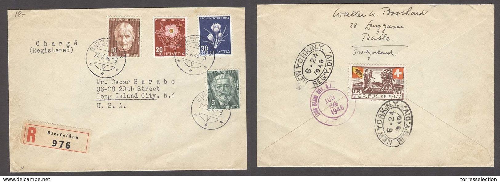 Switzerland - XX. 1946 (27 May). Birsfelden - USA / NY. Reg Multifkd Env Tied Military Label Reverse. VF. - Switzerland