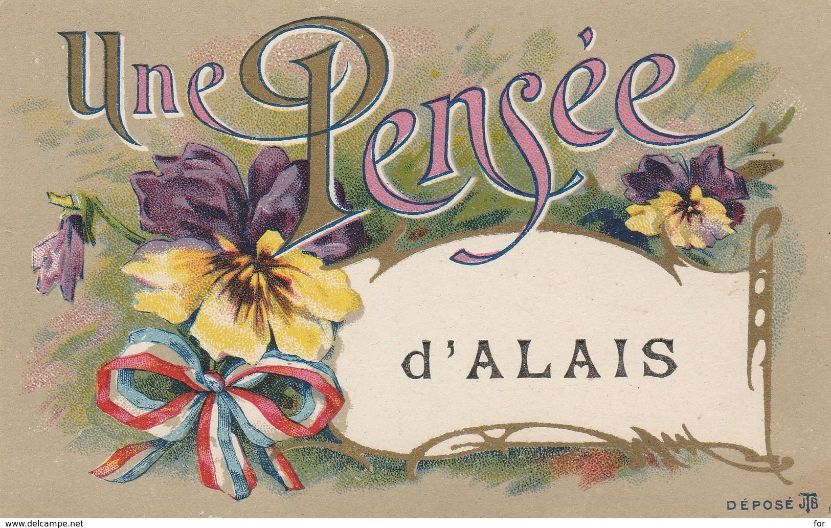Gard : ALAIS - ALES : Une Pensée D'alais : Fleur Et Ruban Tricolore ( Patriotique - Militaire ) - Alès