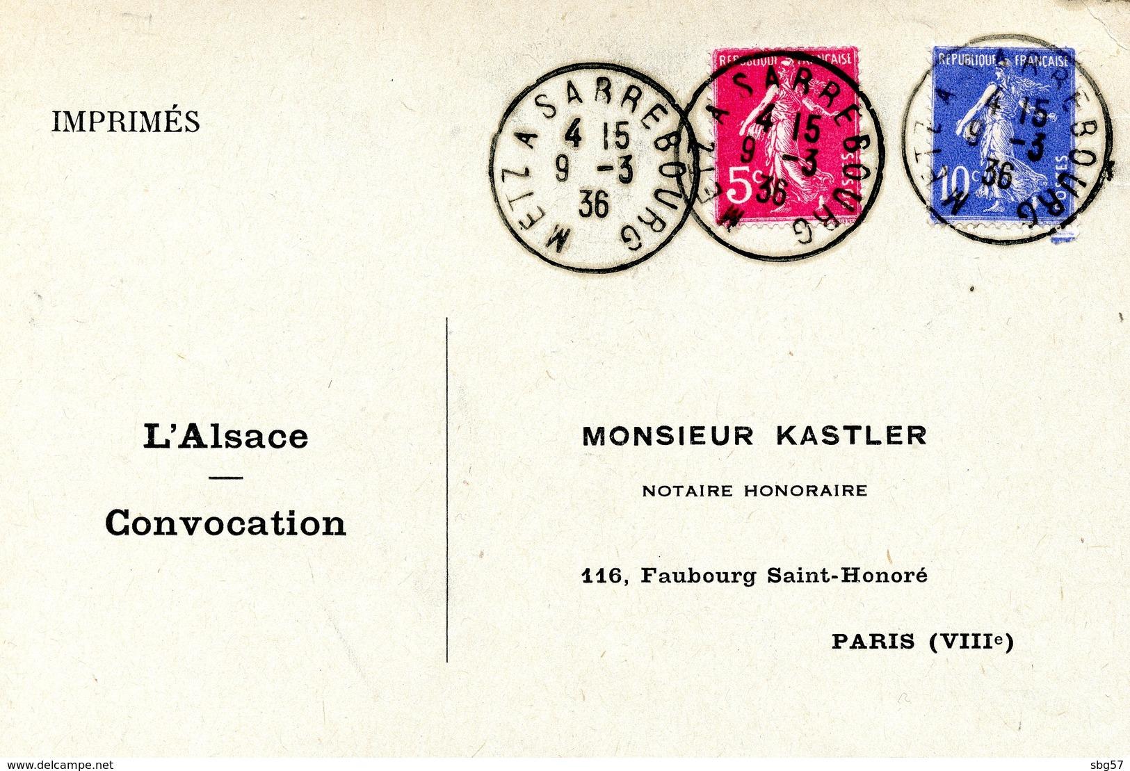 Cachet Ambulant METZ A SARREBOURG Daté Du 09/03/1936 - Alsace-Lorraine