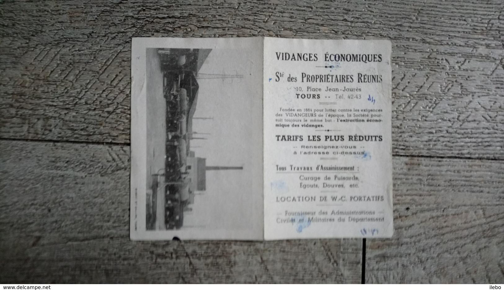 Petit Calendrier Dépliant  Publicitaire 1949 Sté Des Propriétaires Réunis Place Jean Jaurès Tours - Calendriers