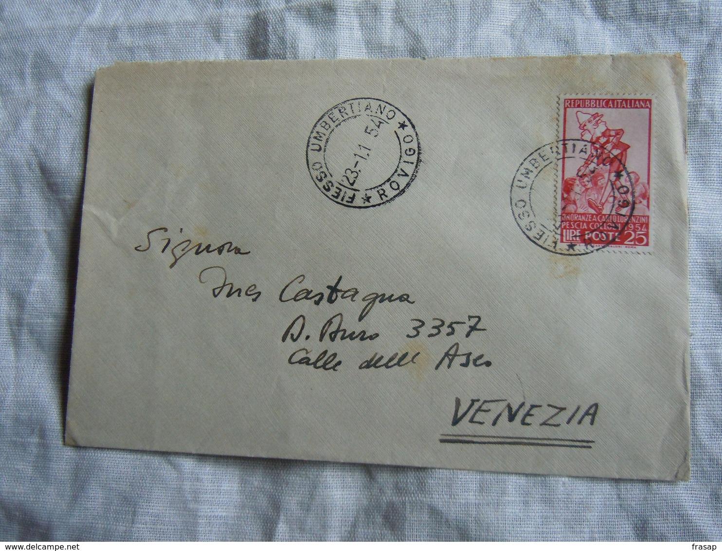 1954 COLLODI   LIRE 25  PER VENEZIA - 1946-60: Poststempel