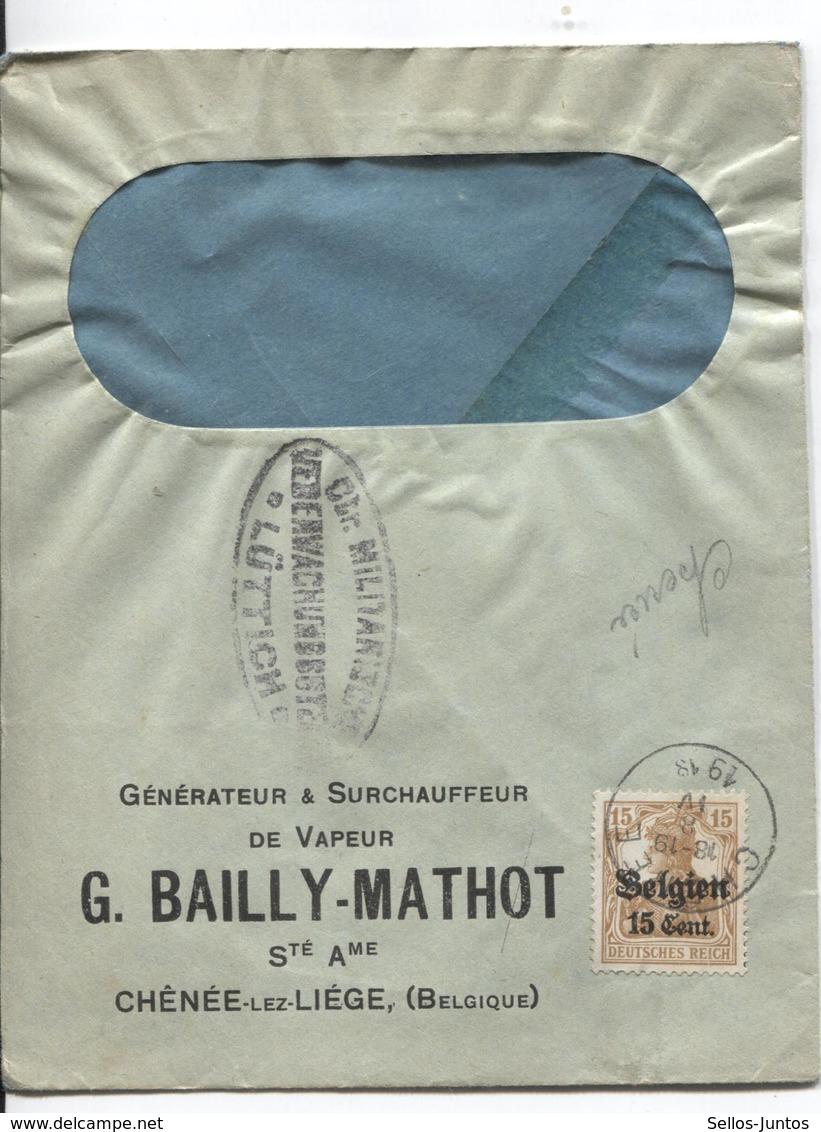 SJ/89 TP Oc 15 S/L.Entête G.Bailly-Mathot Ch^née-lez-Liège C.Chenée 1918 Censure Lüttich - WW I