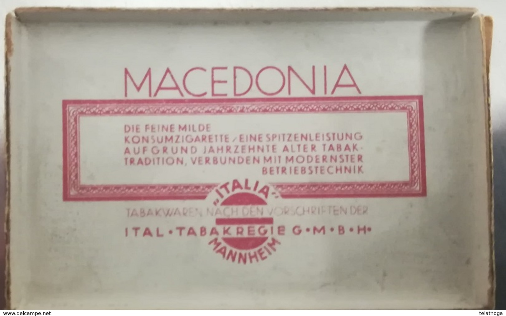 """SCATOLINA SIGARETTE """"MACEDONIA ITALIA"""" PRODOTTA IN GERMANIA SU LICENZA MONOPOLIO ITALIANO 1934 - Schnupftabakdosen (leer)"""