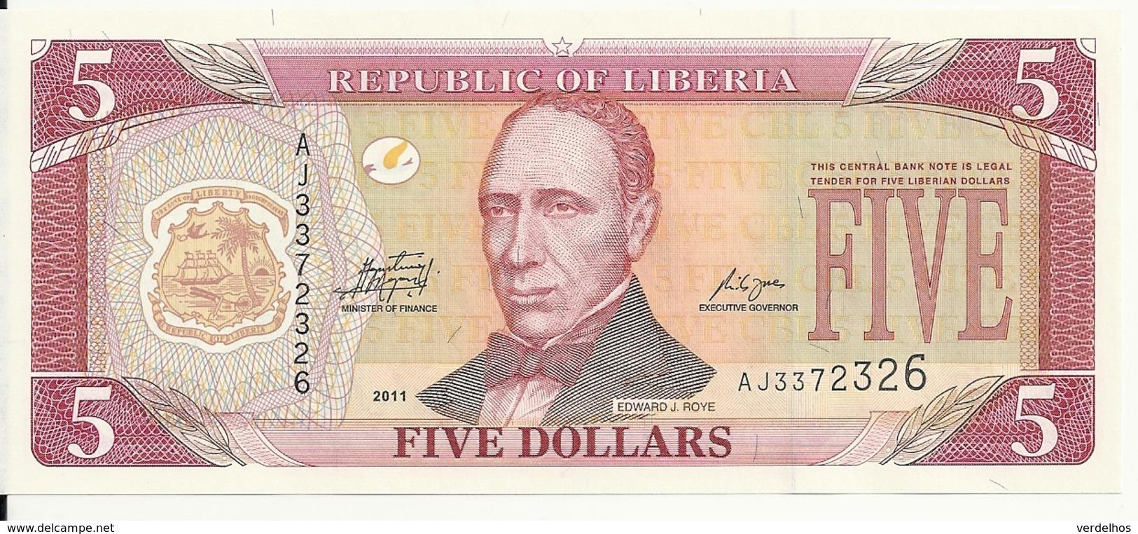LIBERIA 5 DOLLARS 2011 UNC P 26 - Liberia