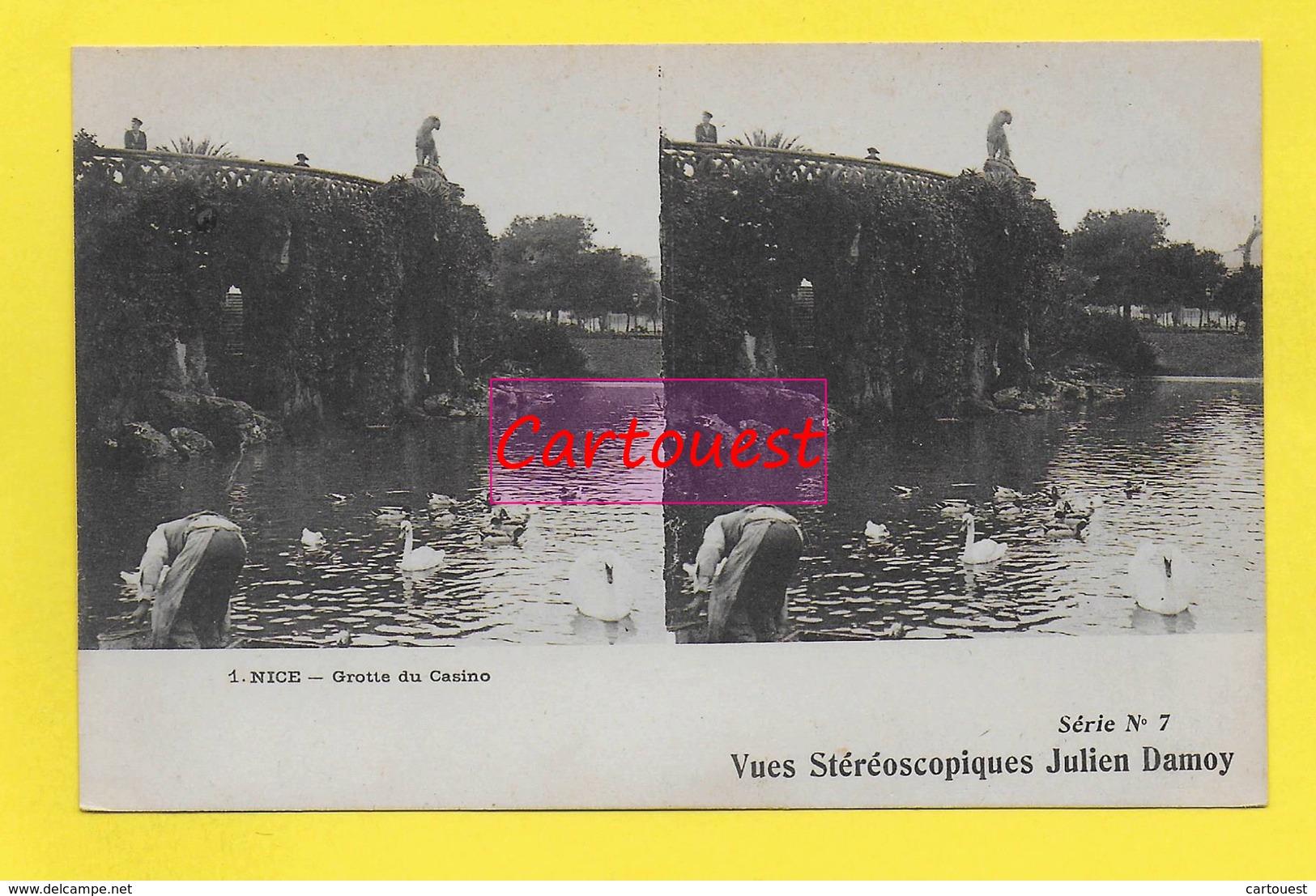 CPA NICE 06  ֎  Square Albert 1er Vue Sur Le Lac ֎ CARTE STEREOSCOPIQUE - Stereoscopische Kaarten