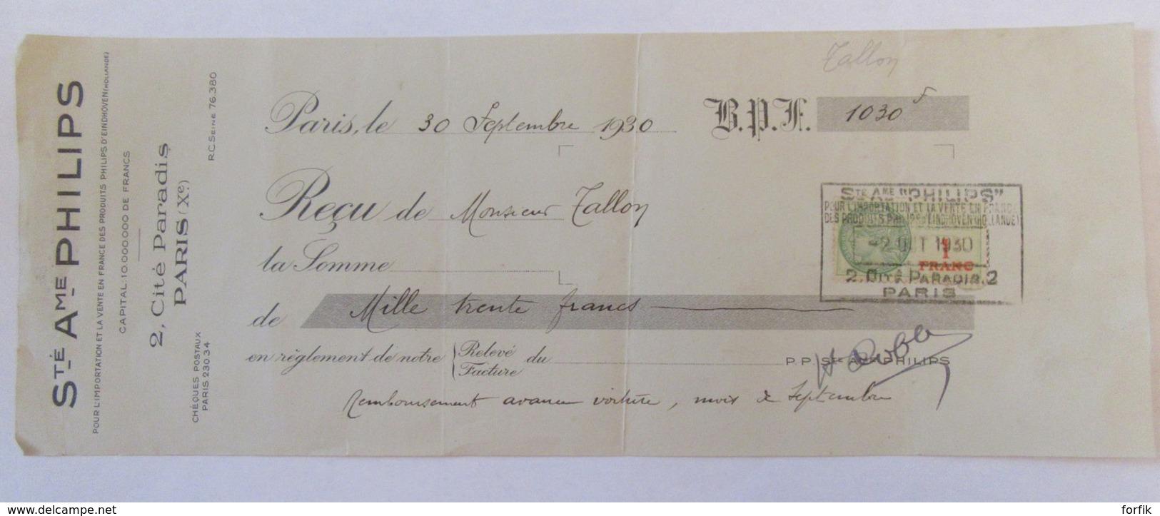 France - Reçu De Facture De La Société Anonyme Philips à Paris Le 30 Septembre 1930 - France
