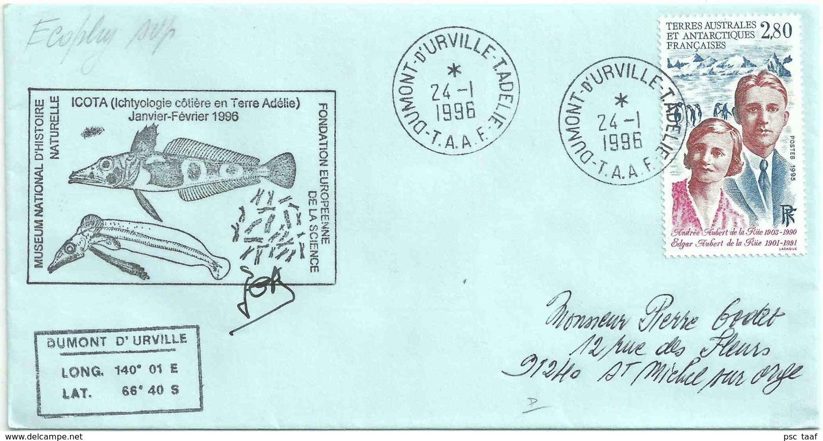 YT 198 - Andrée Et Edgard De La Rüe - Expédition Scientifique En Terre Adélie - Dumont D'Urville - Terres Australes Et Antarctiques Françaises (TAAF)