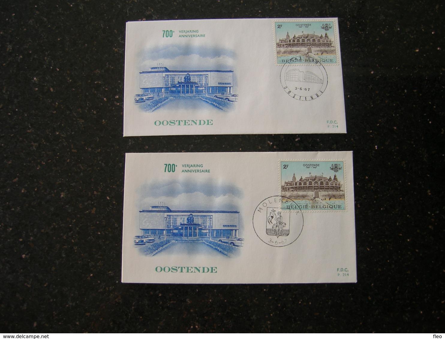 "BELG.1967 1418 FDC's (Molenbeek & Oostende ) :  "" Oostende 700 "" - FDC"