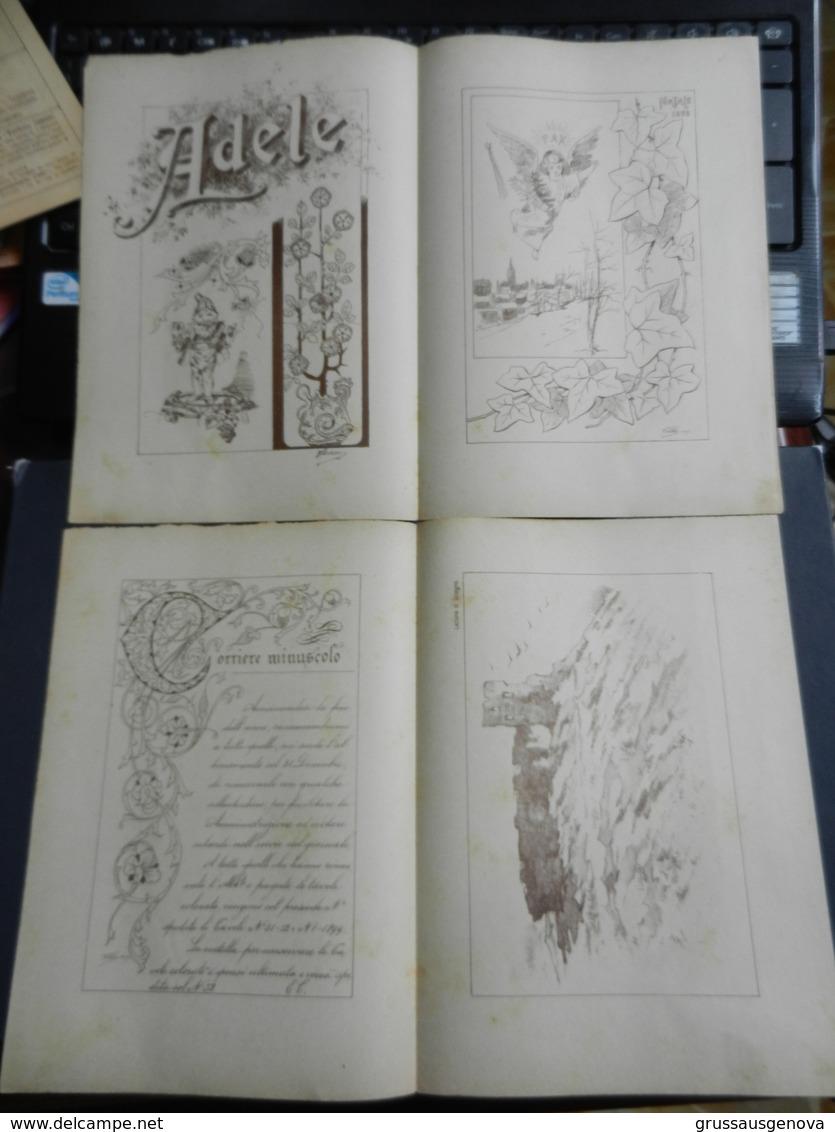 8g) ARTE MINUSCOLA LEZIONE DI DISEGNO 25 DICEMBRE 1898  N° 51 DUE FOGLI CON VARIE IMMAGINI - Libri, Riviste, Fumetti