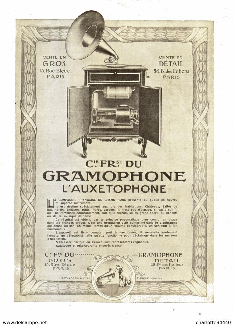 """PUB """" L'AUXETOPHONE """" De La """" COMPAGNIE FRANCAISE De GRAMOPHONE   """" 1908 ( 4 ) - Technical"""