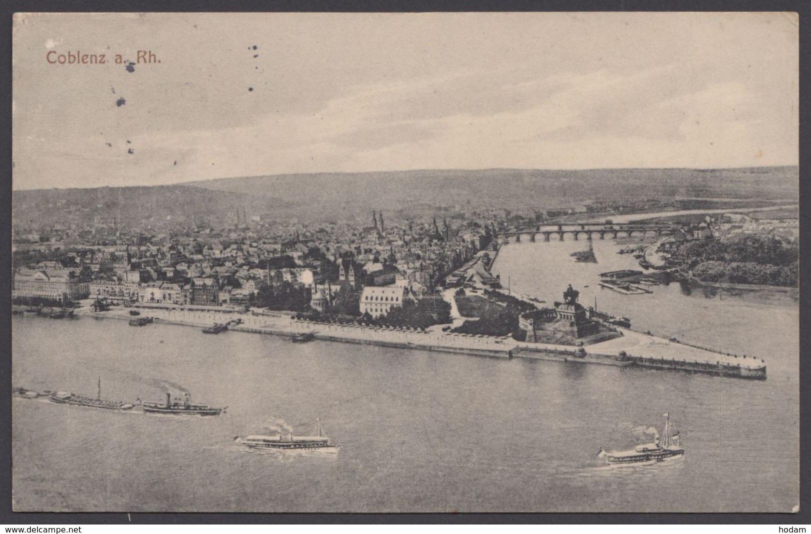 """""""Koblenz"""", Deutsches Eck, 1915 Gelaufen - Koblenz"""