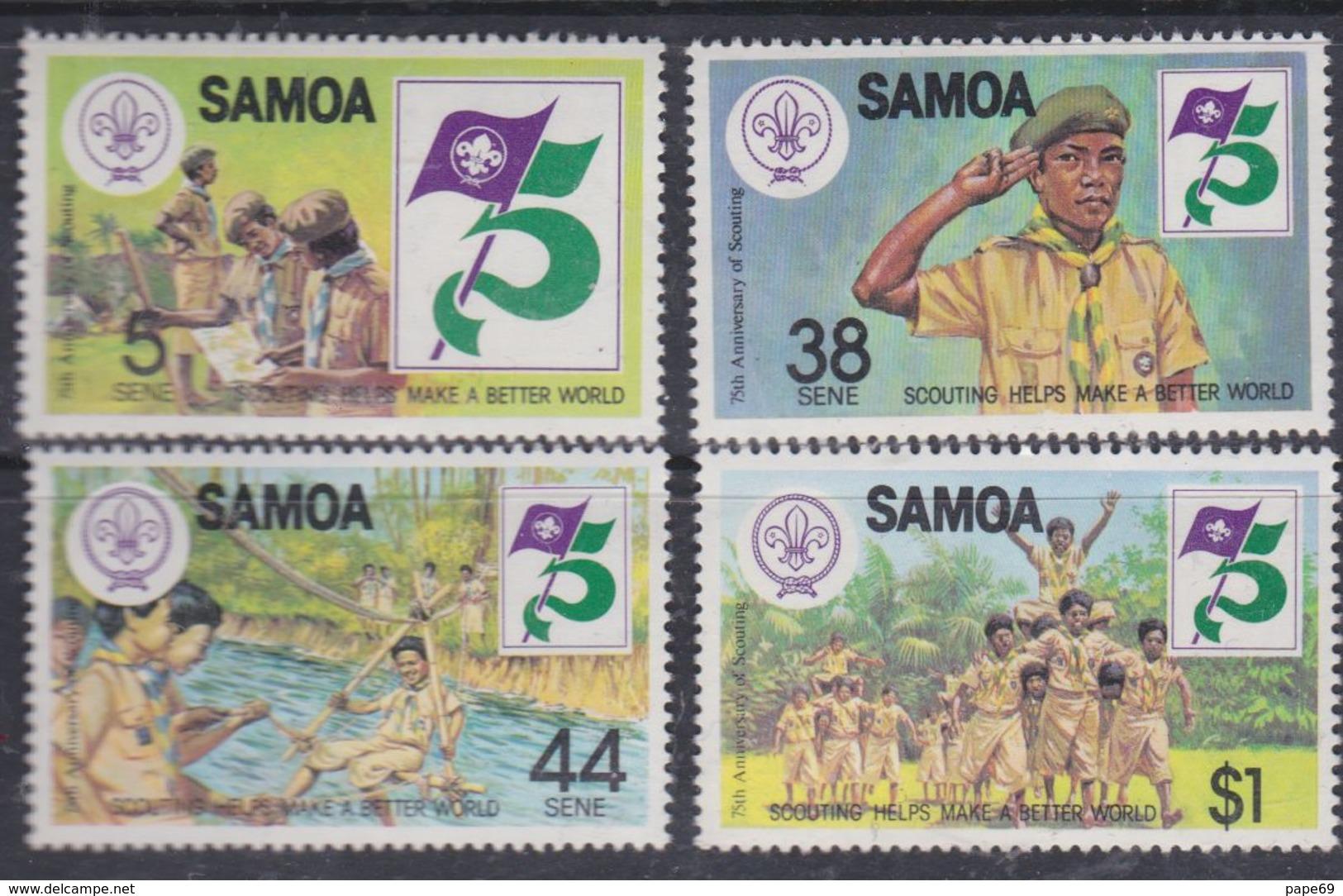 Samoa N° 509 / 12 XX 75ème Anniversaire Du Scoutisme, Les 4 Valeurs Sans Charnière, TB - Samoa