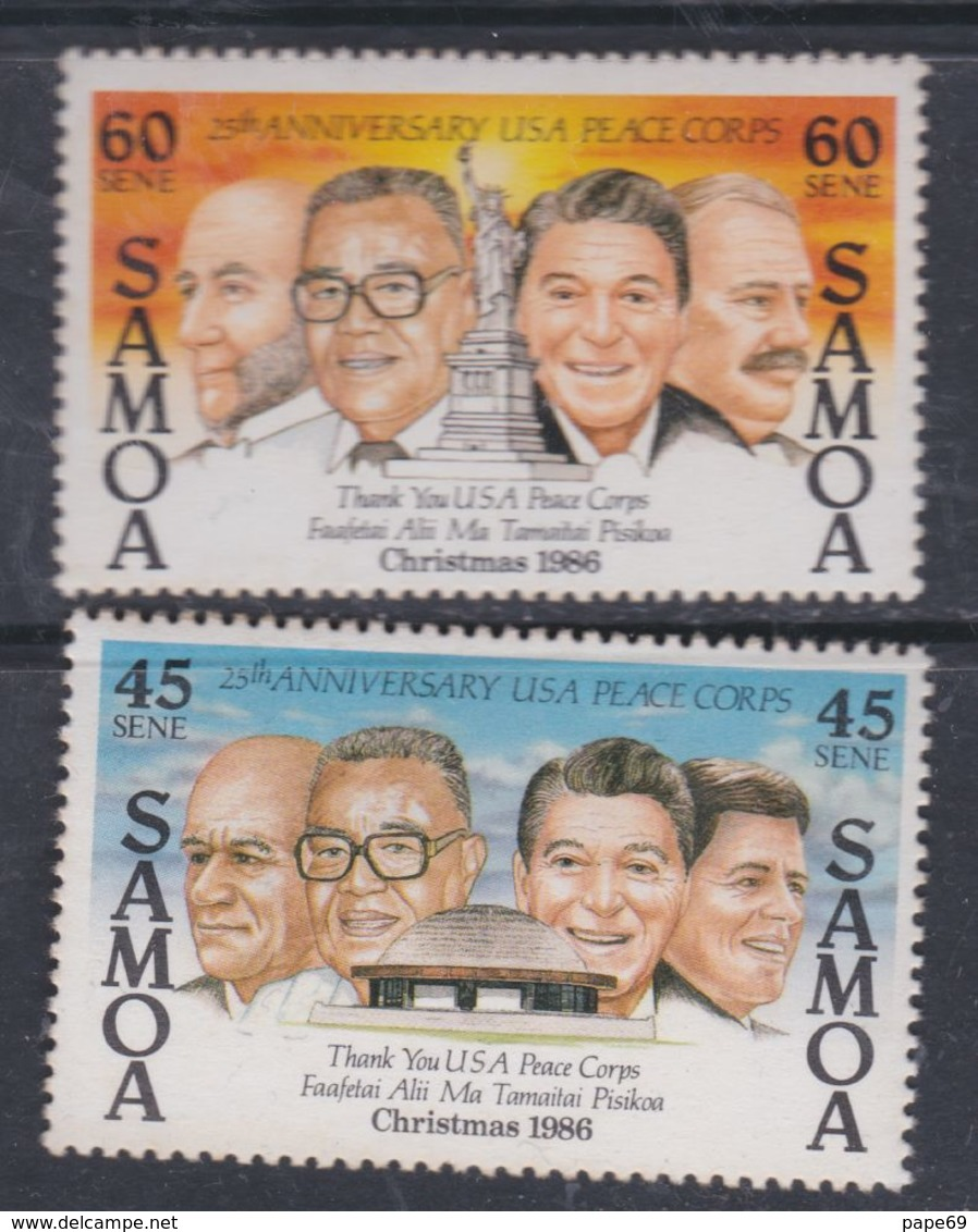 """Samoa N° 621 / 22 XX  Noël Et 25ème Ann. Du """"Corps De La Paix"""",  Les 2 Valeurs Sans Charnière, TB - Samoa"""