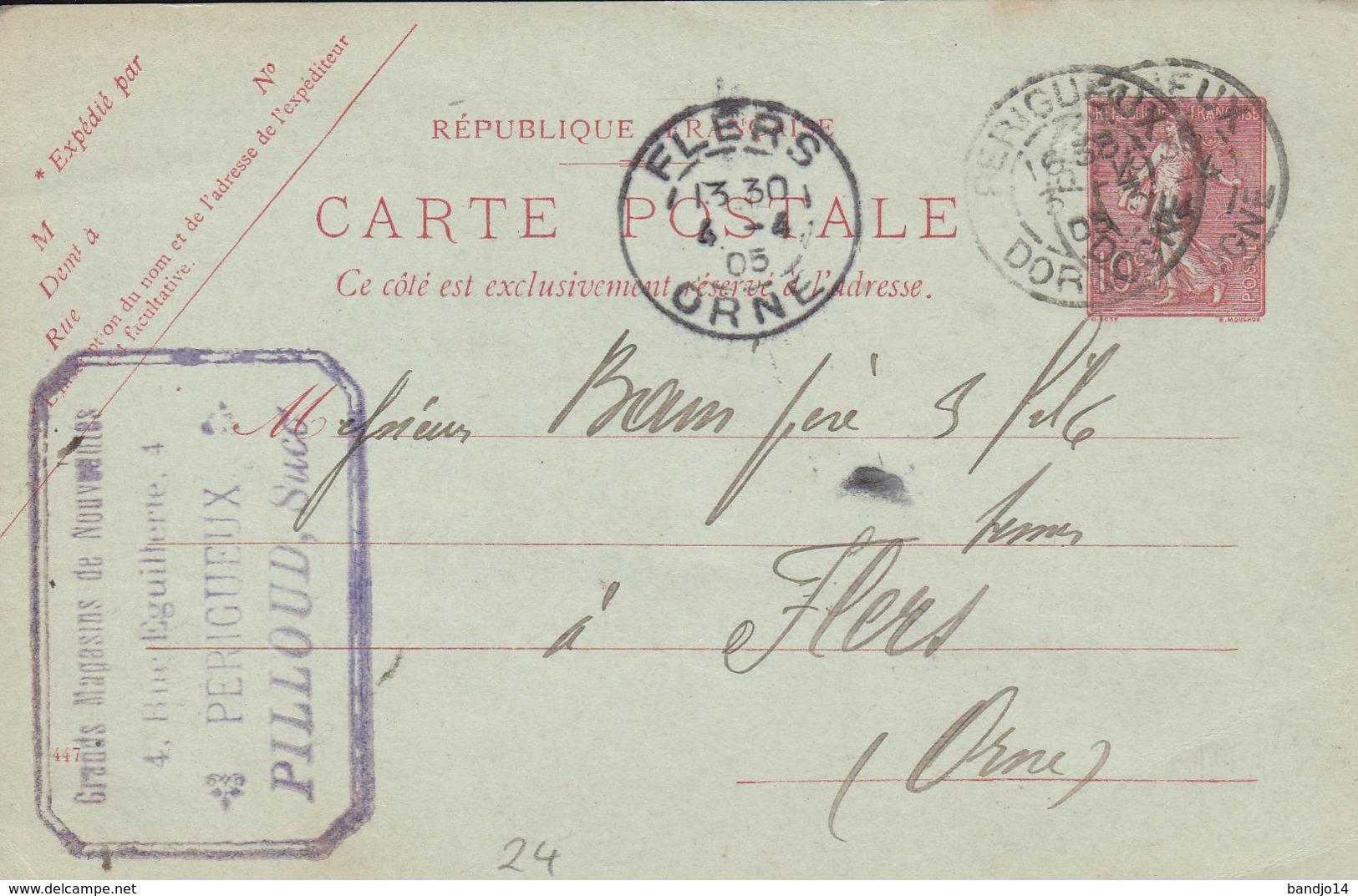 """PERIGUEUX - Cachet Magasin  """"PILLOUD   """" Sur Entier Postal - Scan Recto-verso - Postales Tipos Y (antes De 1995)"""