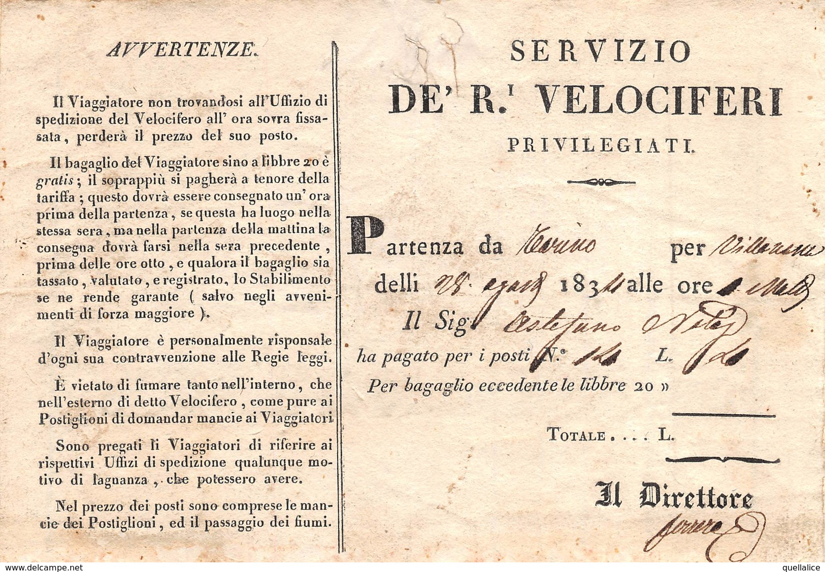 """0992 """"SERVIZIO DE' R. VELOCIFERI - 28 AGOSTO 1834 - BIGLIETTO TRASPORTO DA TORINO A VILLANUOVA"""" - Europe"""