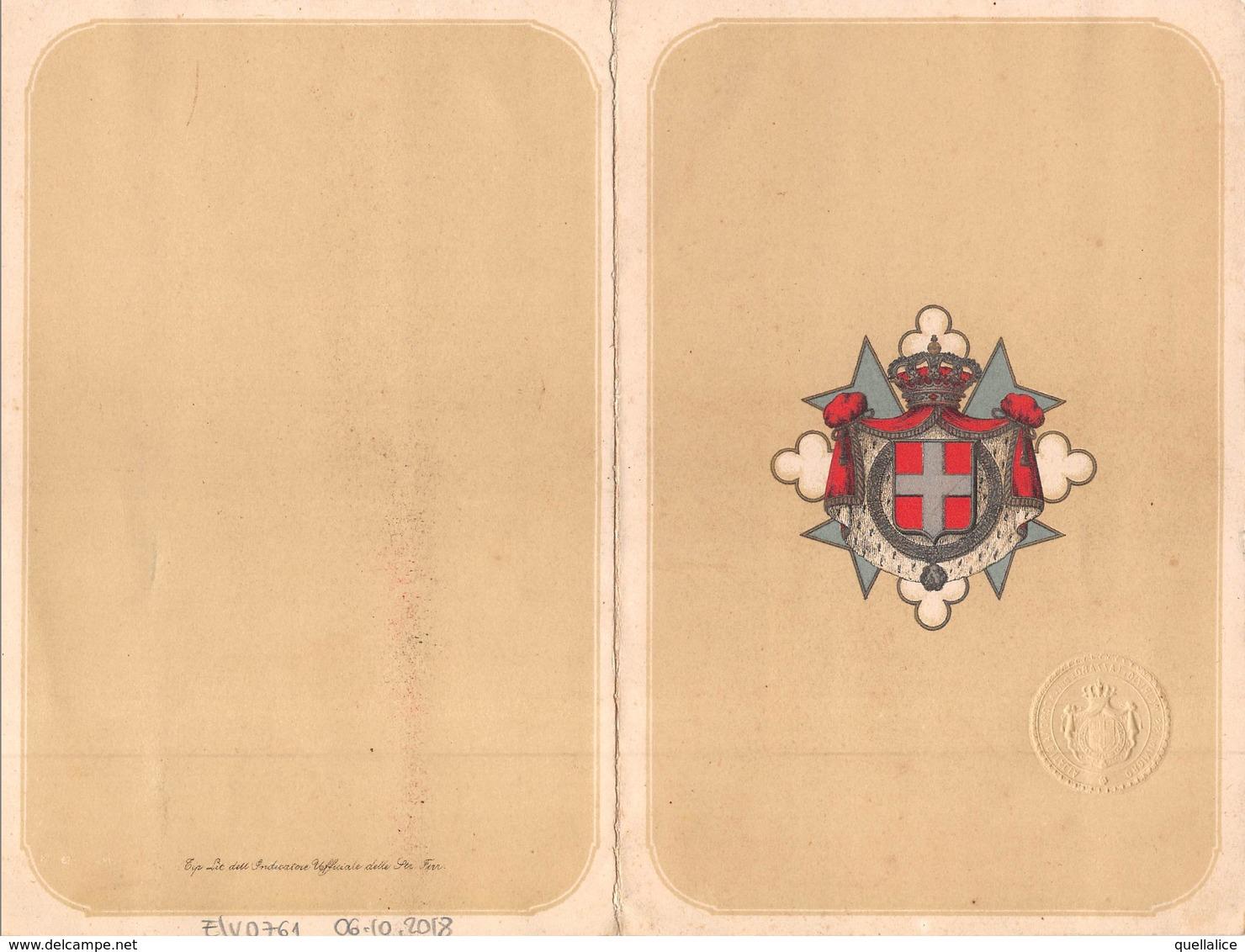 """0996 """"TORINO-INVITO INAUGURAZIONE NUOVO OSPEDALE MAURIZIANO-D'ORDINE DI SUA MAESTA'....C. CORRENTI-8 NOVEMBRE 1881"""" """" - Tickets D'entrée"""