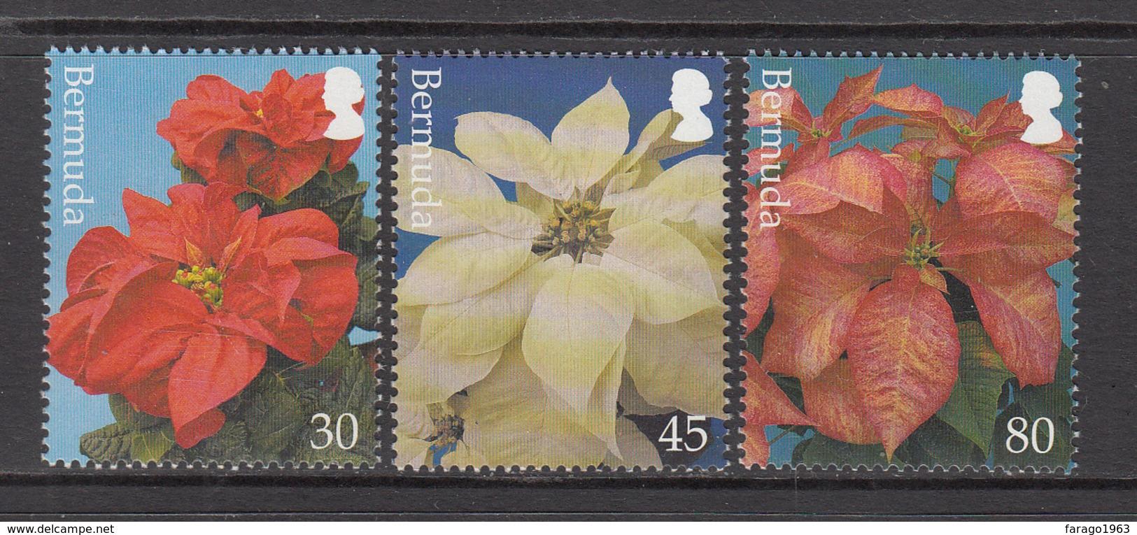 2003 Bermuda Pointsetta Flowers Christmas Noel  Complete Set Of 3 MNH - Bermuda