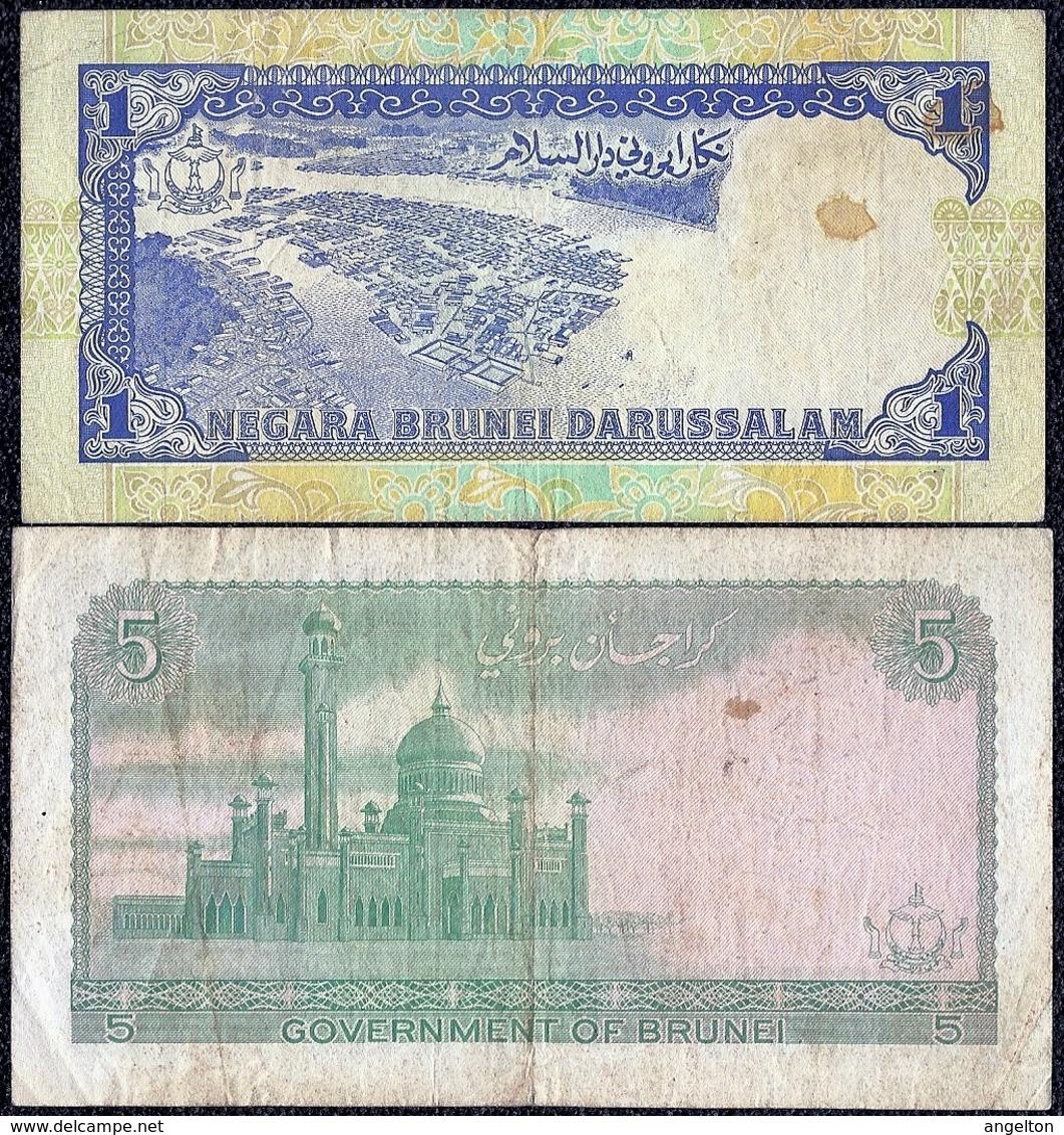 Brunei 1 Dollar 1991, 5 Dollars 1983 VF Banknotes - Brunei