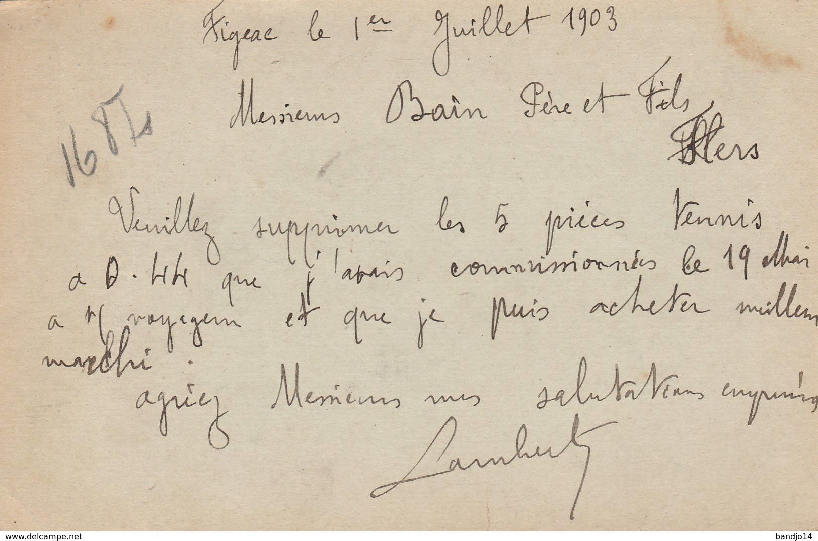 """Figeac - Cachet Magasin """"A LA CONFIANCE  Maison Mouly """" - Sur Entier Postal - Scan Recto-verso - Enteros Postales"""